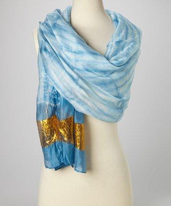 Blue & Gold Knit Tie-Dye Silk-Blend Beach Shawl