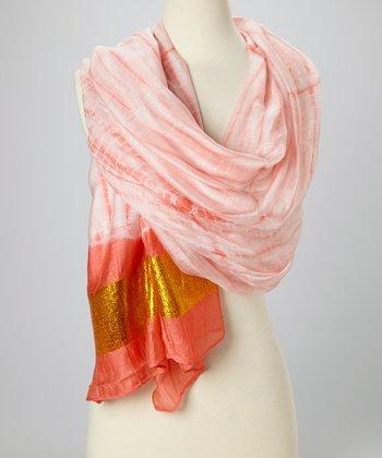Coral & Gold Knit Tie-Dye Silk-Blend Beach Shawl