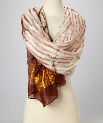 Brown & Gold Knit Tie-Dye Silk-Blend Beach Shawl