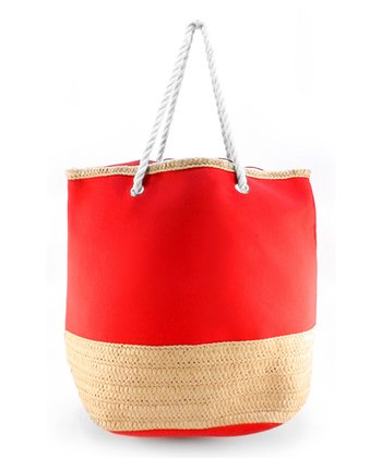 Red Basket Weave Tote