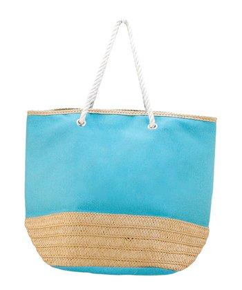 Turquoise Basket Weave Tote