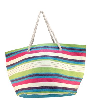 Turquoise & Pink Stripe Straw Tote