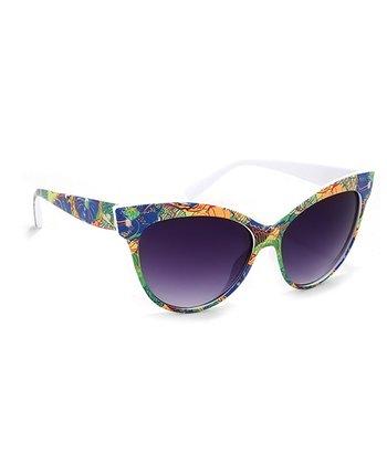 A.J. Morgan Green & Blue Floral Splash Cat-Eye Sunglasses