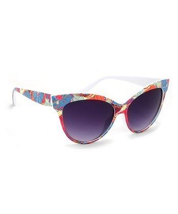 A.J. Morgan Light Blue & Pink Floral Splash Cat-Eye Sunglasses