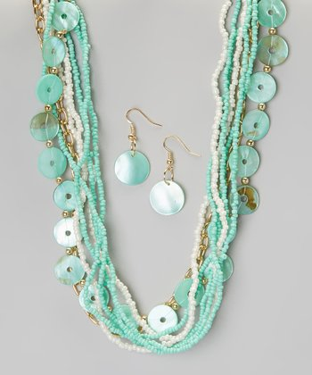 Mint Shell & Seed Bead Necklace & Earring Set