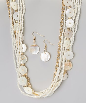 White Shell & Seed Bead Necklace & Earring Set