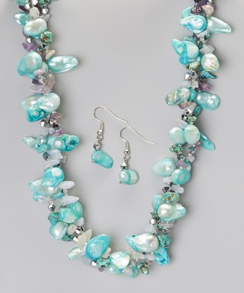 Aqua Shell Necklace & Earring Set