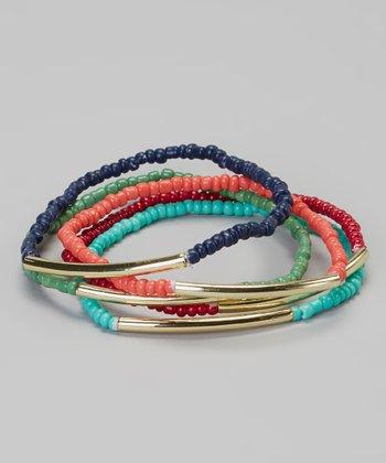 Red & Blue Stretch Bracelet Set