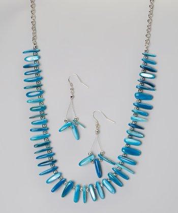 Blue Fragment Necklace & Earring Set