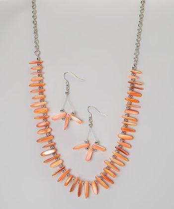 Orange Fragment Necklace & Earring Set