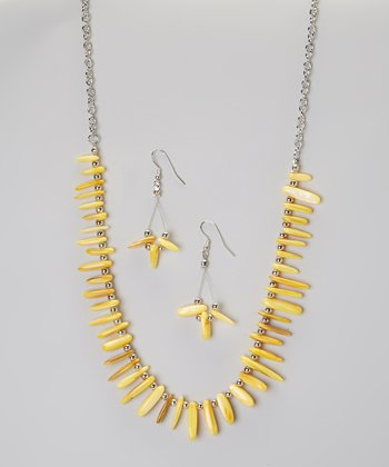 Yellow Fragment Necklace & Earring Set