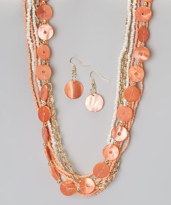 Coral Shell & Seed Bead Necklace & Earring Set
