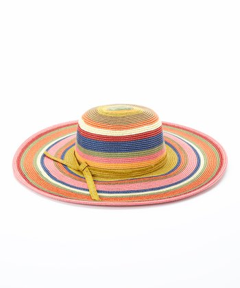 Jeanne Simmons Accessories Bright Pink Stripe Straw Sunhat