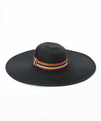 Jeanne Simmons Accessories Black & Red Stripe Band Straw Sunhat