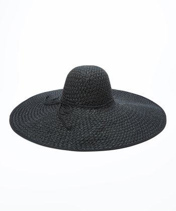 Jeanne Simmons Accessories Black Straw Sunhat