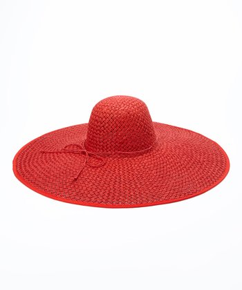 Jeanne Simmons Accessories Red Straw Sunhat