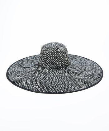 Jeanne Simmons Accessories Black & White Straw Sunhat