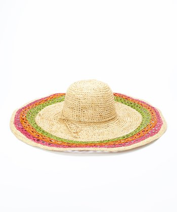 Jeanne Simmons Accessories Beige & Pink Wide Weave Straw Sunhat