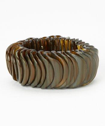 Dark Brown Mother of Pearl Stretch Bracelet
