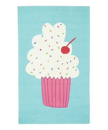 Aqua Cupcake Wool Rug