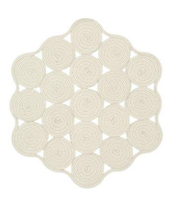 Cream Hableland Crochet Wool-Blend Rug