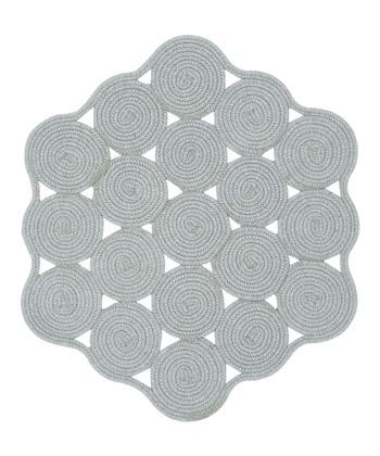 Light Gray Hableland Crochet Wool-Blend Rug