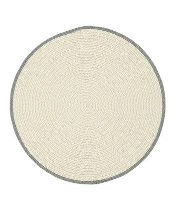 Cream & Ash Gray Round Hableland Wool-Blend Rug