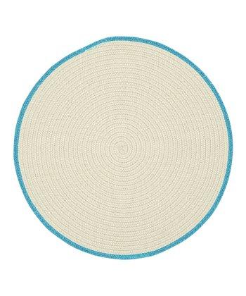 Cream & Blue Moon Round Hableland Wool-Blend Rug
