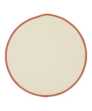 Cream & Pumpkin Pie Round Hableland Wool-Blend Rug