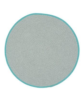 Light Gray & Baltic Blue Round Hableland Wool-Blend Rug