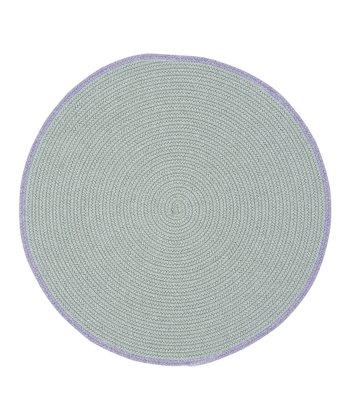 Light Gray & Chalk Violet Round Hableland Wool-Blend Rug