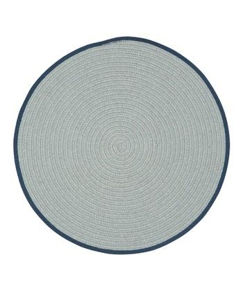 Light Gray & Peacoat Round Hableland Wool-Blend Rug