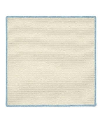 Cream & Blue Bell Square Hableland Wool-Blend Rug