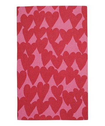 Dark Red Heart Wool Rug
