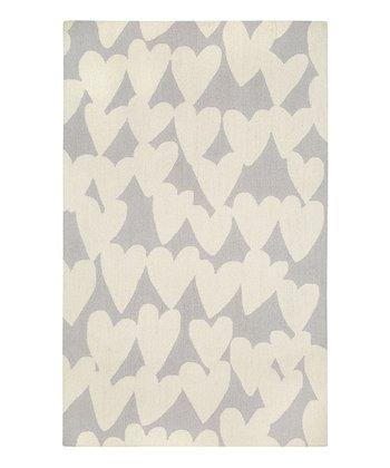 Gray Heart Wool Rug