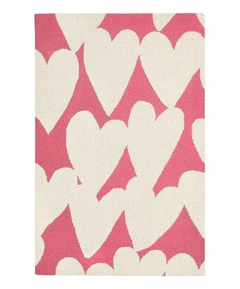Pink Cream Heart Wool Rug