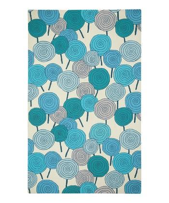 Blue-Green Lollipop Wool Rug