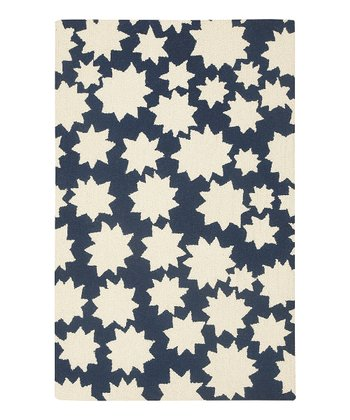 Navy Star Wool Rug