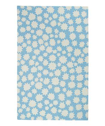 Spa Blue Star Wool Rug