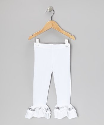 White Sequin Ruffle Capri Pants - Toddler & Girls