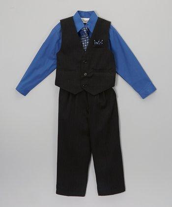 ClassyKidzShop Royal Blue & Black Four-Piece Vest Set - Infant, Toddler & Boys