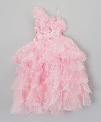 ClassyKidzShop Pink Tiered Ruffle Asymmetrical Dress - Toddler & Girls