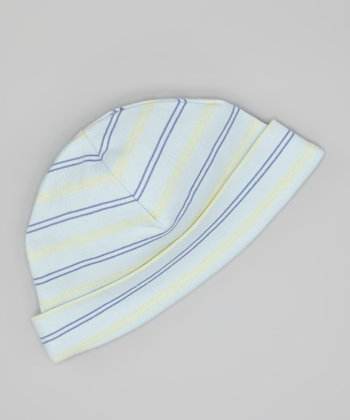 Blue & Yellow Stripe Organic Beanie