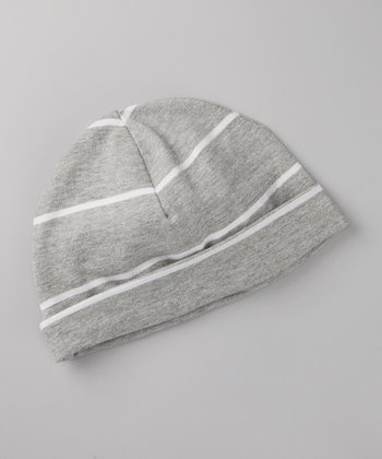 Gray & Natural Stripe Organic Beanie