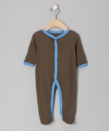 Brown & Blue Organic Footie - Infant