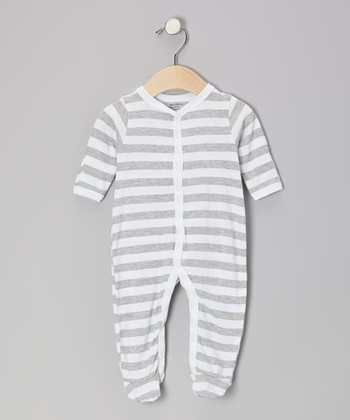 Gray & White Stripe Organic Footie