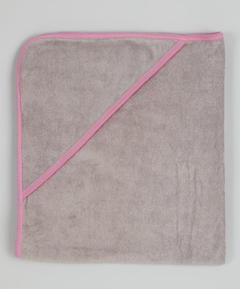 Gray & Pink Organic Hooded Towel
