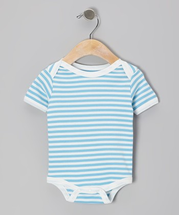 Blue & White Stripe Organic Bodysuit - Infant