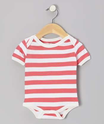 Coral & White Stripe Organic Bodysuit - Infant