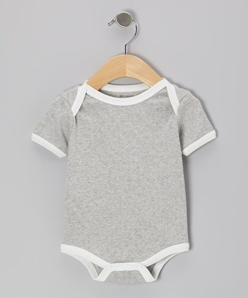 Gray & White Organic Bodysuit - Infant